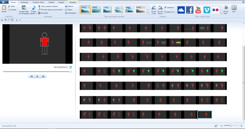 3. korak- vstavljanje v Movie Maker